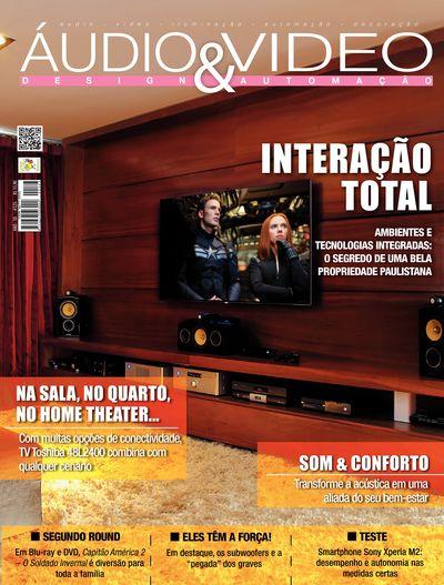 Projeto de sala de home theater assinado pela DAG Brasil em destaque na capa da Revista Áudio e Vídeo Design e Automação