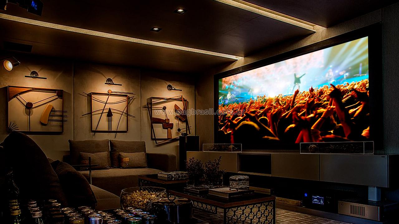 Projeto de sala de home theater em parceria com arquiteta Nágila Andrade em Salvador, Bahia | DAG Brasil