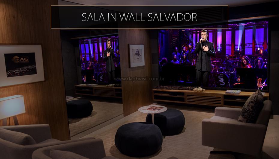 Sala In Wall Salvador - Sala de home theater com caixas B&W embutidas na parede e projetor SIM2 Multimedia - Showroom DAG Brasil Salvador - Bahia