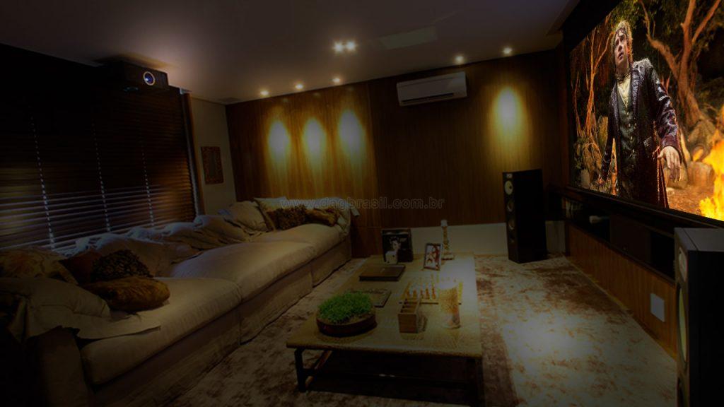 Projeto de home theater para apartamento no Panambi, zona sul de São Paulo.