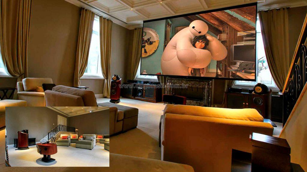 Home cinema em lusuosa mansão em capinas, no interior de São Paulo, tem assinatura da DAG Brasil.