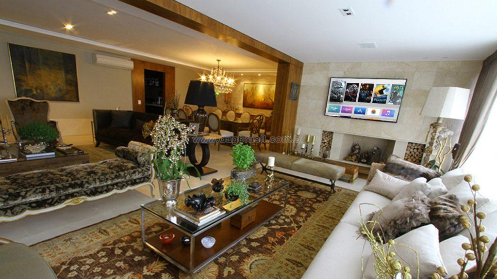 Projeto de multirrom e som ambiente para luxuoso apartamento no Panambi, zona sul de São Paulo.
