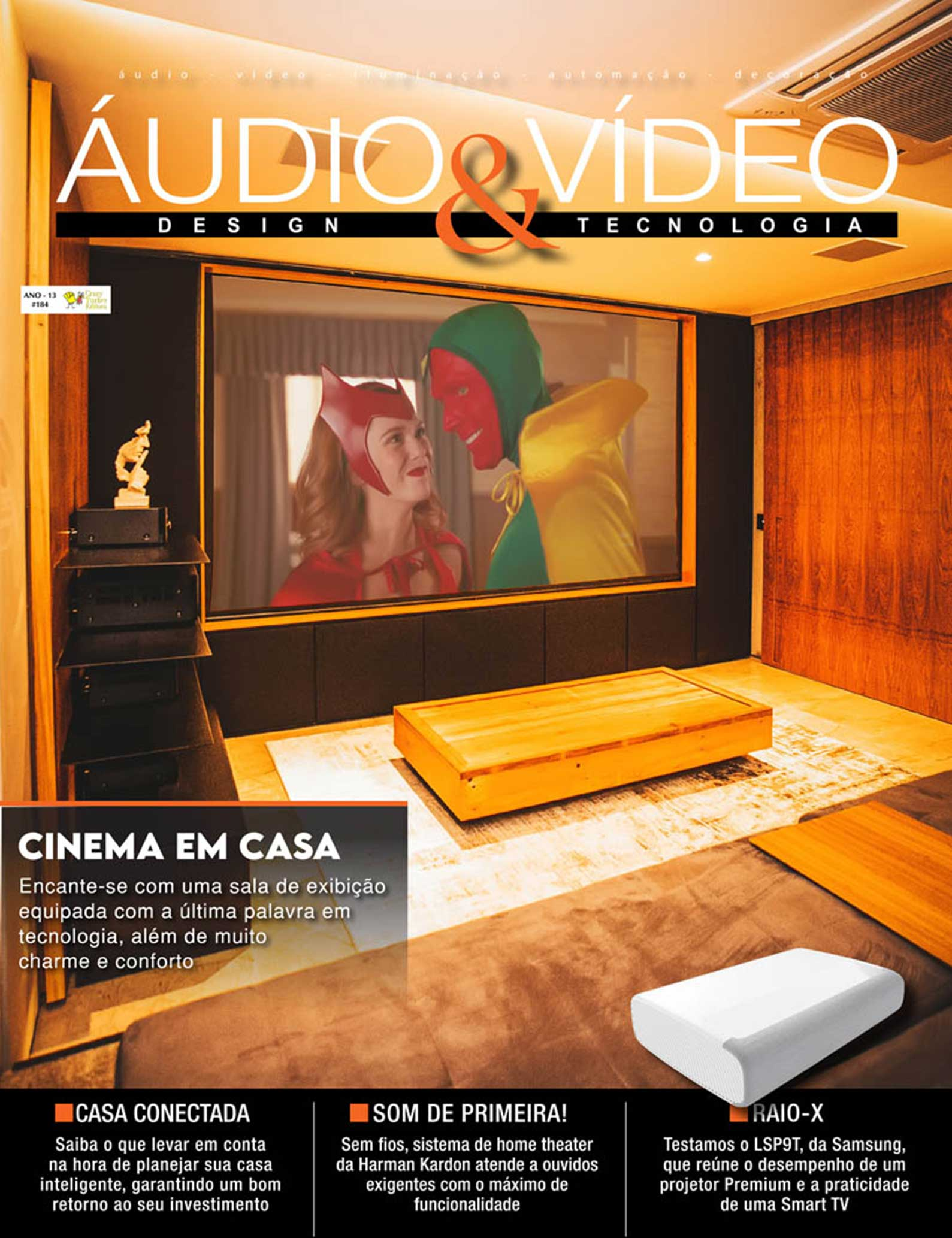 Revista Áudio & Vídeo 184 - Projeto de home cinema, automação e som ambiente para residência de alto padrão em Itatiba, SP - DAG Brasil